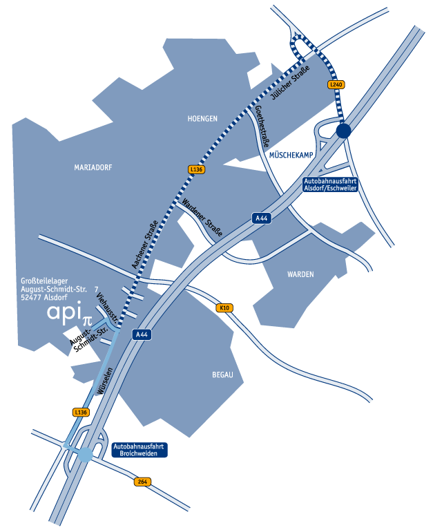 Wegbeschreibung Alsdorf